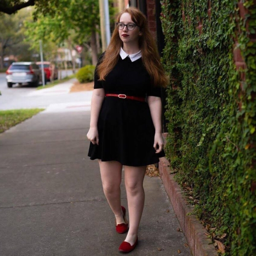 Collared Dress w/ red shoes
